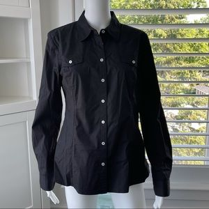 🏷Any 3/$20 - JESSICA Black Blouse, White Buttons